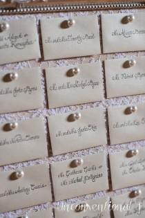 wedding photo - Wedding Escort Card Seating Cork Board Pearl Push Pins