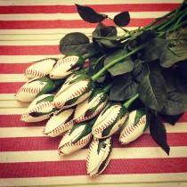 wedding photo - Sports Baseball Rose Bud Flowers
