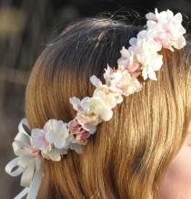 wedding photo - Wedding Flowers, Cherry Blossom silk flower hair wreath.