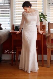 wedding photo - Retro Design 3/4 Sleeve Lace Bridal Wedding Dress Gown. Perfect For Woodland/Beach Wedding