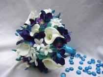 wedding photo - Becca's Bridal Bouquet with White Calla Lilies, Aqua Hydrangeas, Crystals,Blue Dendrobium Orchids,Galaxy,Singapore