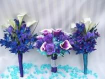 wedding photo - Kayla's Arm Bridemaids Bouquets Blue Violet Dendrobuim Orchids, White Calla Lilies,Purple Freesia