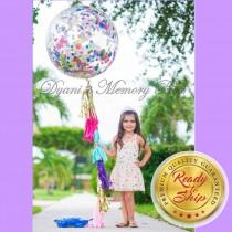 "wedding photo - Sprinkle 36"" Clear Confetti Filled Balloon / Confetti Balloon / Biodegradable Clear Balloon / Birthday Balloon"