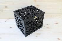 wedding photo - Black Wedding Card Box BIG SIZE-Wedding Gift-Plywood-Keepsake Box-Wedding money box-Wedding card money holder-White Card Holder-Candy box