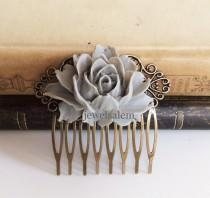 wedding photo - Gray Wedding Comb Grey Hair Accessories Bridal Big Flower Comb Woodland Floral Bridesmaids Head Piece Large Rose Nature Autumn WR