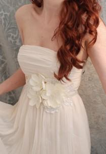 wedding photo - Bridal gown belt, floral dress sash, wedding belt, bridal accessory, whimsical wedding, bridal gown sash, ivory wedding accessories
