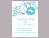 wedding photo - DIY Wedding Invitation Template Editable Word File Instant Download Printable Blue Invitation Turquoise Wedding Invitation Heart Invitation