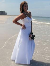 wedding photo - Satin beach wedding dress spaghetti strap fitted midriff jeweled back Aline