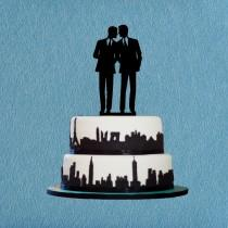 wedding photo - Gay Wedding Cake Topper,Same Sex Cake Topper,Unique Wedding Cake Topper Gay Silhouette,Modern Wedding Cake Topper
