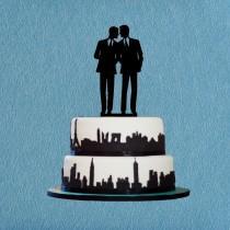 wedding photo - Gay Wedding Cake Topper,Same Sex Cake Topper,Unique Wedding Cake Topper Gay Silhouette,Modern Wedding Cake Topper
