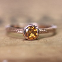 wedding photo - Rose gold ring for women, 14k rose gold ring, gold citrine ring gold, november birthstone ring, wheat ring, braided ring, custom made