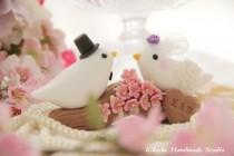 wedding photo - birds with sakura ,cherry blossoms branch Wedding Cake Topper (K302)