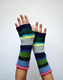 wedding photo - Colorful Half Finger Wool Gloves - Color Blocking Gloves - Long Striped Gloves- Winter Accesories - Fashion Gloves nO. 119.