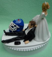 wedding photo - Wedding Cake Topper New York Rangers NY Hockey Themed w/ Bridal Garter Humorous Bride Groom Unique Sports Fans Funny Helmet Mask Puck Top