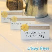 wedding photo - Wedding Place Cards, Calligraphy, Rehearsal Dinner, Rustic Wedding, Foldover Tent, Escort Card, Name Tag, Country, Flowers and Burlap