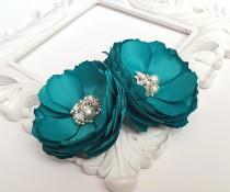 wedding photo - Oasis Teal Hair Clips - For Bride, Bridesmaid, Flower Girl, Formal Occasion, Photo Shoot Sister Teacher's Gift - Many Colors Kia Collection