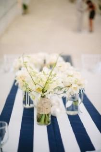 wedding photo - Black Friday sale coupon code black2016 Navy and hite striped table runner - Nautical table runner - Wedding table runner