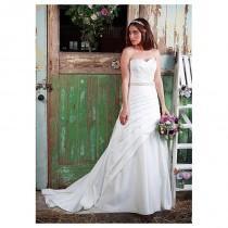 wedding photo - Amazing Satin Sweetheart Neckline A-line Wedding Dresses with Beadings & Rhinestones - overpinks.com