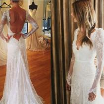 wedding photo - Sexy V-neck Mermaid White Lace Tulle Wedding Dress, Long Sleeve Wedding Gown ,WD0012