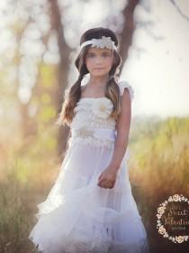 wedding photo - Flower girl dress, White lace dress, rustic flower girl dress,country flower girl dress, Baptism dress, flower girl dresses, Baby dress.