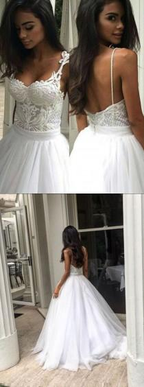 wedding photo - Elegant Sweep Train Backless Wedding Dress With Lace Top Spaghetti Straps