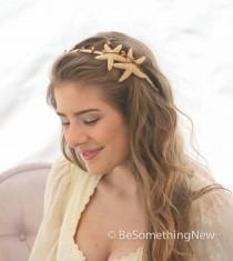 wedding photo - Starfish Headband, Beach Wedding Hair Accessory, Sea Shell Wedding Headband, Bohemian Beach Hair Accessory
