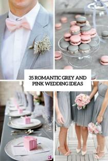 wedding photo - 35 Romantic Grey And Pink Wedding Ideas - Weddingomania