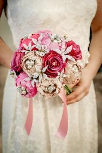 wedding photo - Wedding bouquet  Made To Order - A GARDEN ROMANCE  -Whimsical Delights Collection - Handmade silk flowers and sparkling rhinestone brooches