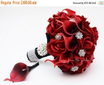 wedding photo - Winter Sale Red Roses Calla Lilies & Rhinestones Bridal Bouquet Real Touch Deep Red Callas Red Roses - Red Black Wedding Bouquet Boutonniere
