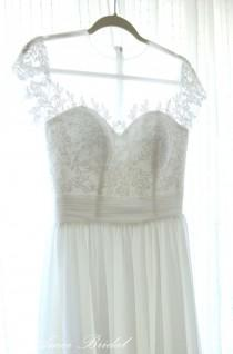 wedding photo - Custom Made Simple White Lace Wedding Dress with Small Cap Sleeves Great for Beach Boho Wedding - AM4048025