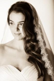 wedding photo - Mantilla Veil, mantilla lace veil, mantilla, Chantilly mantilla, mantilla bridal veil, mantilla veil, Waltz wedding Veil, mantilla