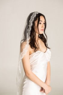 wedding photo - Mantilla Veil, Lace Veil, Eyelash Lace Veil, Fingertip mantilla, White mantilla, white mantilla, mantilla wedding veil, eyelash mantilla