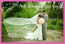 wedding photo - Cathedral veil with beaded lace and blusher