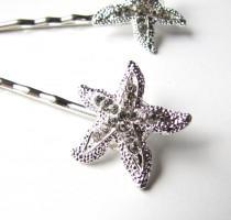 wedding photo - Rhinestone Starfish Hair Clips Pins, Beach Wedding Silver Sparkle Bobby Pins Set of 2