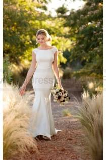 wedding photo - Essense of Australia Modern Column Wedding Dress With Lace Side Cut-Outs Style D2238