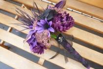 wedding photo - Dark purple & Black bouquet~ Halloween Wedding, Goth Wedding, Fall Wedding, Rockabilly Wedding