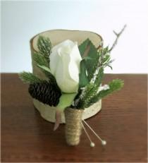 "wedding photo - Rustic Winter Boutonnieres, White Rose, Pine, Frosted Branch, Mini Pine Cone, and Twine Wrap, Winter Wedding, ""Snow Blossom"""