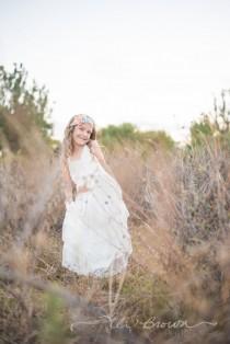 wedding photo - Flower girl dress, off white boho flower girl dress, Ivory flower girl dress, flower girl dresses, beach flower girl dress, boho girls dress