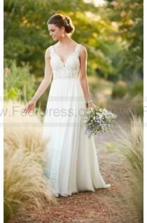 wedding photo - Essense of Australia Beach Boho Chiffon Wedding Dress Style D2292