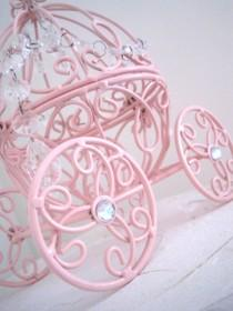 wedding photo - Cinderella Carriage N Crystal Baby Pink Cake Topper MADE TO ORDER