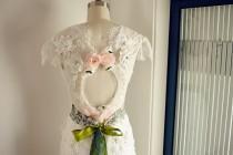 wedding photo - Vintage Lace Chiffon Cap Sleeves Boho Beach Wedding Dress Keyhole Open Back Backless Bridal Gown