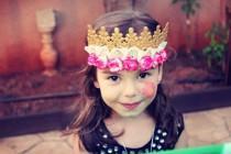 wedding photo - ANDRIA - Woodland Crown Gold Headpiece, Lace crown headband, suede tieback headband, photo prop, birthday crown Whimsical flower band halo
