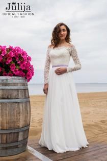 wedding photo - Simple wedding dress with  long sleeve, closed lace back bridal dress, slim chiffon wedding dress, beach , romantic, classic, elegant style