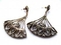 wedding photo - Antique Gold, Earrings, Post Dangle Earrings, Fen Earrings, Vintage Style, Everyday Earrings, Bronze Crystal, Gold Crystal, Vintage Gold,