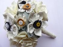 wedding photo - Alternative wedding bouquet, unique idea for a modern wedding ivory printed text fabric flowers bouquet / posies for brides or bridesmaids