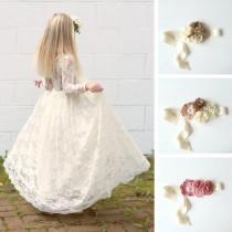 wedding photo - ivory flower girl dress, girls lace dress, country lace dress, rustic flower girl dress, long sleeve lace dress, boho flower girl dresses