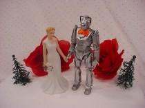 wedding photo - Dr Who Wedding Cake Toppers - DR Who TV Show Age of Steel Mr Cyberman Figurine Groom Mrs Woodland Bride Halloween Weddings Fun Gift -DW16-1A