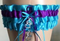 wedding photo - Turquoise and Purple Wedding Garter Set, Bridal Garter Set, Prom Garters, Weddings, Personalized Garters, Bridal Shower Gift