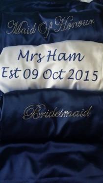 "wedding photo - Personalized Satin ""Mrs. ____"" Bridesmaid Robe Satin Bridal Party Robe Bride Robe Customize Using Any Wording Wedding Gift Lingerie"