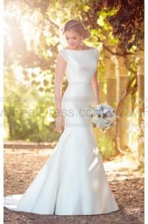 wedding photo - Essense of Australia Modern Fit And Flare Wedding Dress With Embellished Cap Sleeves Style D2241